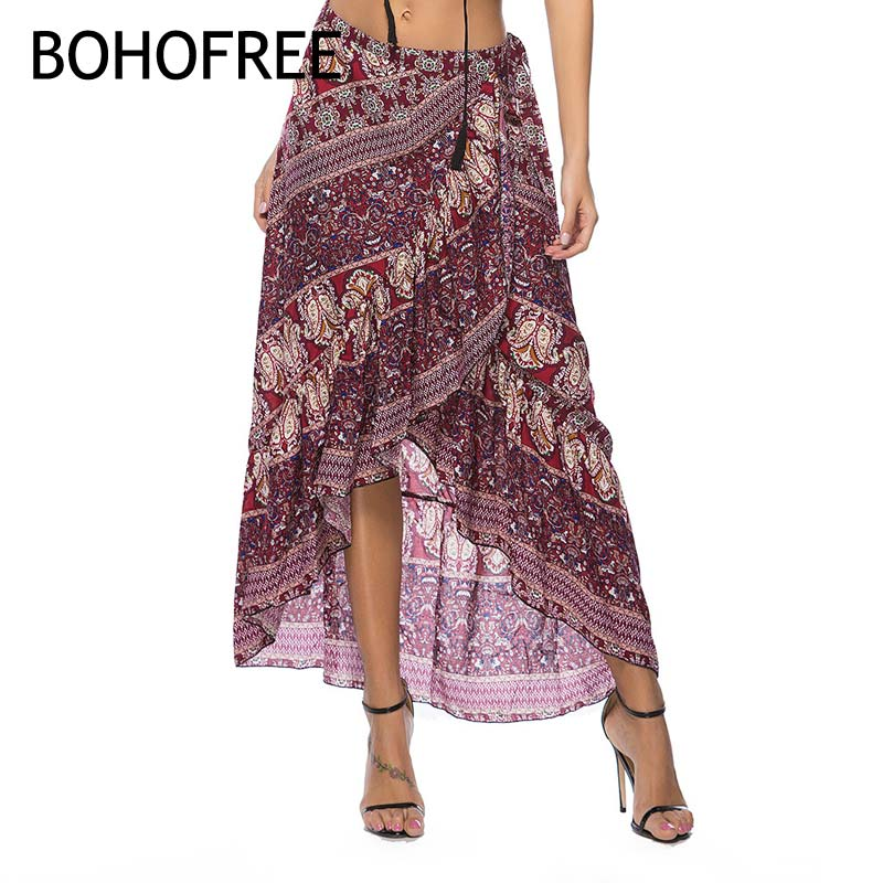 BOHOFREE Summer Beach maxi Skirts Asymmetrical Floral Skirt Women Boho Chic Bohemian Faldas Mujer Chiffon Hippie Skirt With Belt