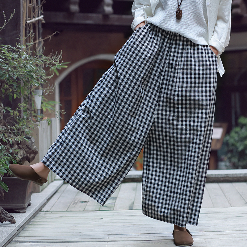 Johnature Women Vintage   Pants   Autumn 2018 New Cotton Linen Soft Comfortably Plaid Loose Brief Pockets   Wide     Leg     Pants