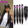 Brazilain Virgin Hair Straight With Closure Brazilian Virgin Hair 4 Bundles With Closure Brazilian Human Hair Weft With Closure