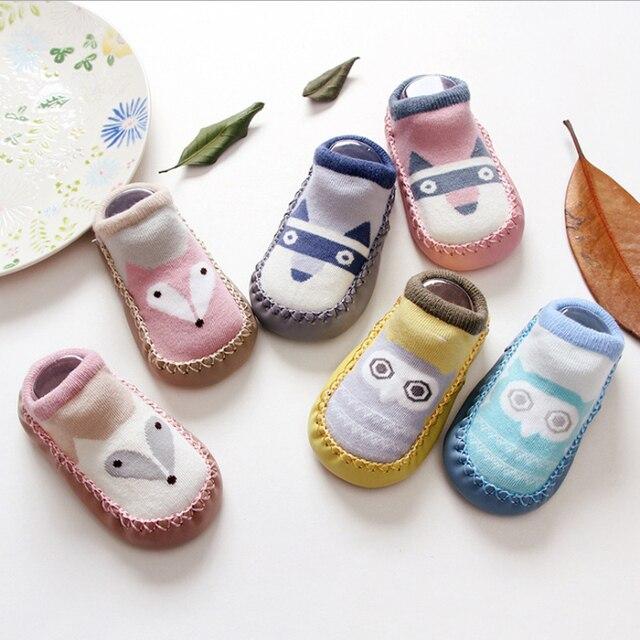 1pair Baby Toddler Floor Sock Shoe Cartoon Fox Owl Socks With Rubber