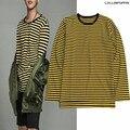 KPOP GD Mesmo Estilo Preto e Amarelo Listrado de Manga Comprida T-Shirt 100% Algodão O-pescoço Stripe T-shirt Side Slit Frete Grátis
