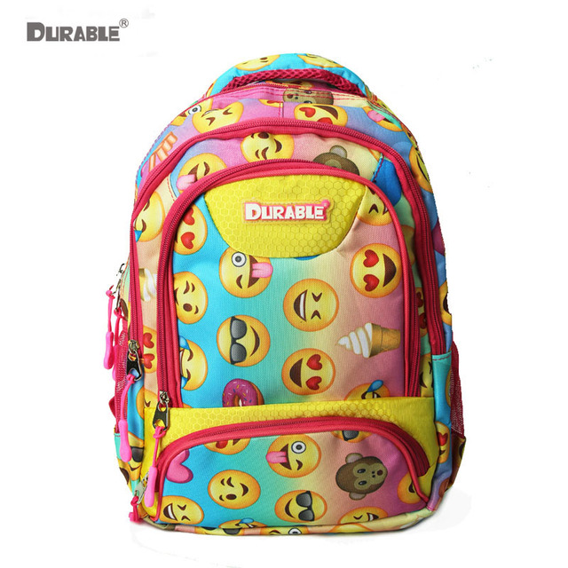 Durable Emoji Hy Smiling Face Monkey Pattern Printing Cute Backpack For Scool Carry Book Bags