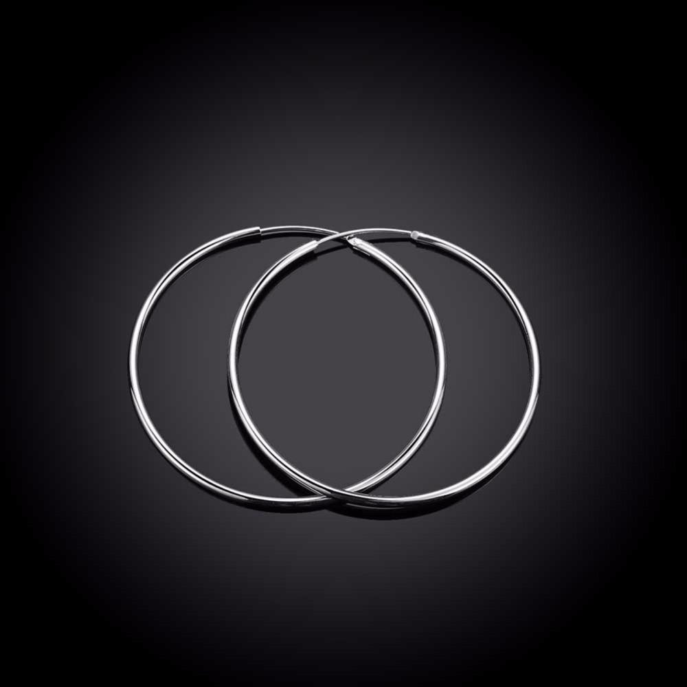 Diameter 5cm Smidig Rund Creole Stor Hoop Örhängen 925 Stämplad - Märkessmycken - Foto 3