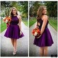 W1226 hermosa Halter púrpura tul con cuentas De baile Vestidos cortos del partido del vestido Vestidos De Festa