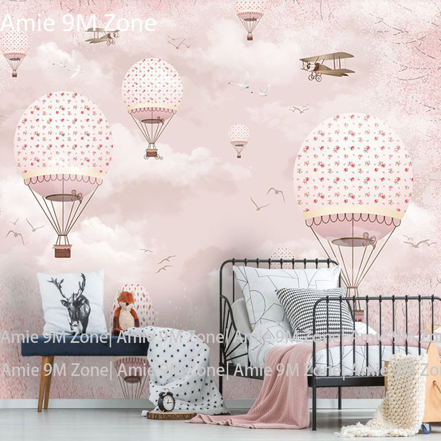 Tuya Mural Wallpapers Pink Flowers And Balloon Romantic Design For Kids Room Wallpaper Wall Decor