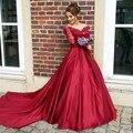 Red Long Sleeve Lace Wedding Dresses A Line Satin Off Shoulder Wedding Gowns Weeding Bridal Bride Dresses vestidos de noiva