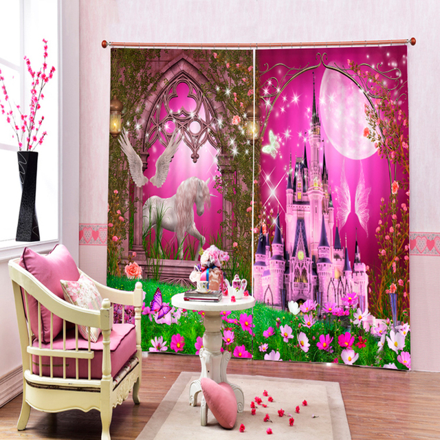 New Europe 3D Blackout Curtains Cartoon Pink Castle Pumpkin Carriage  Pattern Fabric Children Bedroom Curtains For