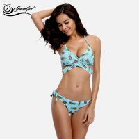 JAONIFER Women Bikini 2017 New Cute Pineapple Fruit Design Straps Style Swimwear Swimming Brazilian Bikinis Push