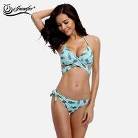 JAONIFER Women Bikini 2017 New Cute Pineapple Fruit Design Straps Style Swimwear Swimming Brazilian Bikinis Push