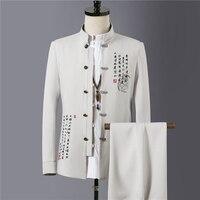 Spring and autumn Men Two Piece set Asian Size S M L XL XXL XXXL XXXXL Embroidered Men Jacket and Pants