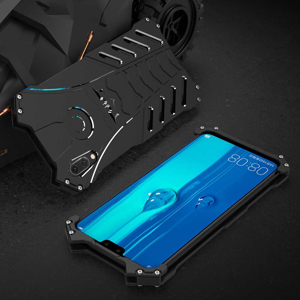 Fashion Superhero Metal Case For Huawei Y9 2019 Hard Cover 2018 Aluminum Shell Shockproof Heat Dissipation+Straps+Sport