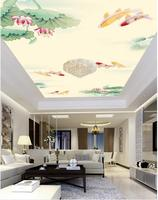 Chinese wind lotus ceiling frescoes 3d stereoscopic wallpaper ceilings 3d wall murals wallpaper