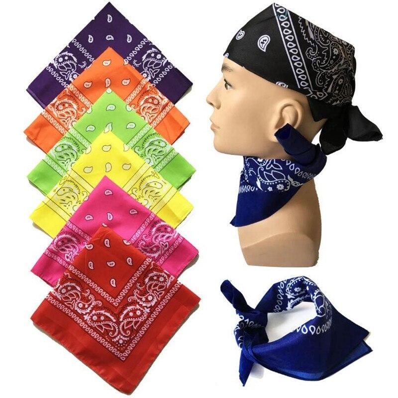Unisex Hip Hop Black Bandana Fashion Headwear Hair Band Neck Scarf Wrist Wraps Square Scarves Print Handkerchief High Quality