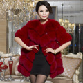 Winter Women's Genuine Real Fox Fur Coat Half Sleeve Leather Patchwork Lady Medium-long Outerwear VF0298