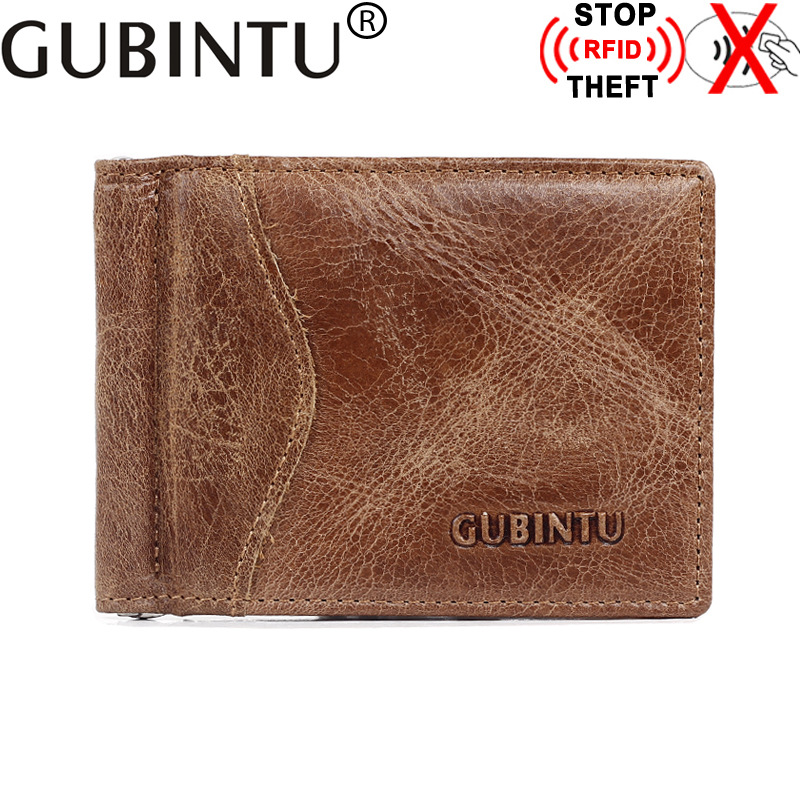GUBINTU Vintage Genuine Leather Purse Coffee Men's Short Wallet Anti-Magnetic US Dollars Package Wallet Men 6 bottles 600pcs omega 3 capsules healthy for cognition heart brain health optimal wellness immune support supplement free ship