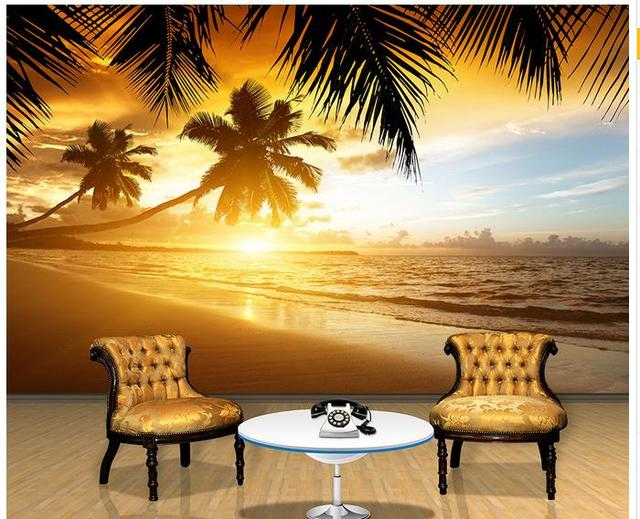 Custom 3d photo wallpaper for walls 3 d wall murals Sunset coconut ...