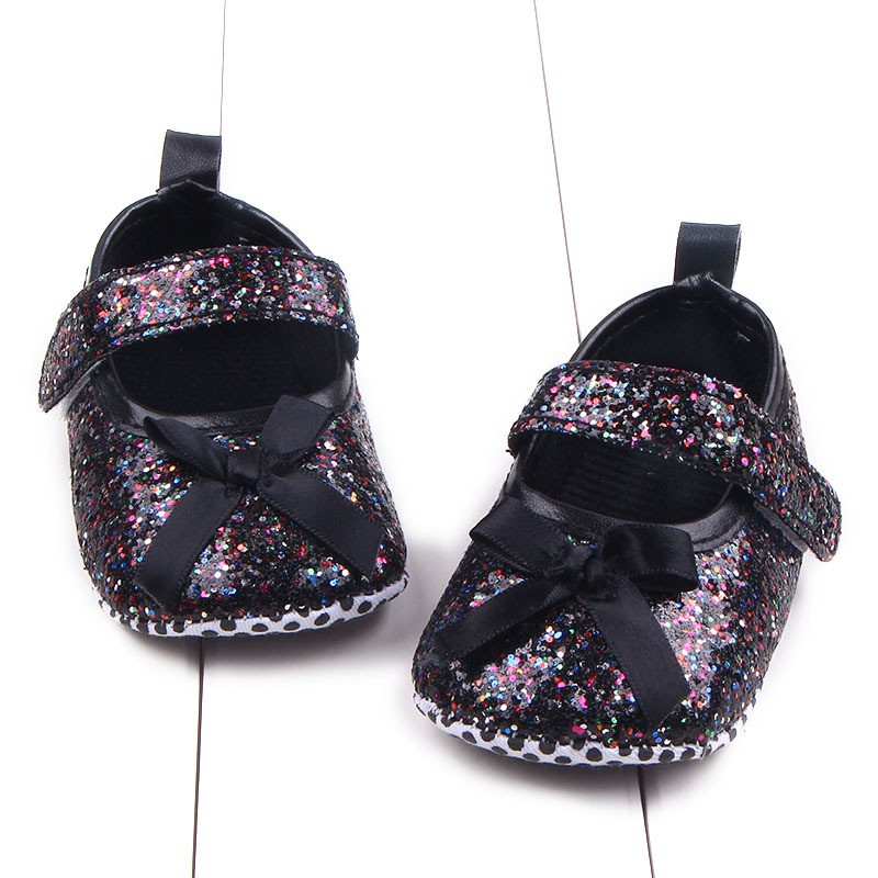 The Fall And Spring Of The New Baby Girls Toddler Shoes Sequined Bow Baby Shoes Fit For 0-12M M2