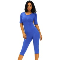 LC6402S Sexy Backless Jumpsuit Womens Clothes Blue Romper Short Sleeve Fashion Spandex Bodysuit Woman Playsuits