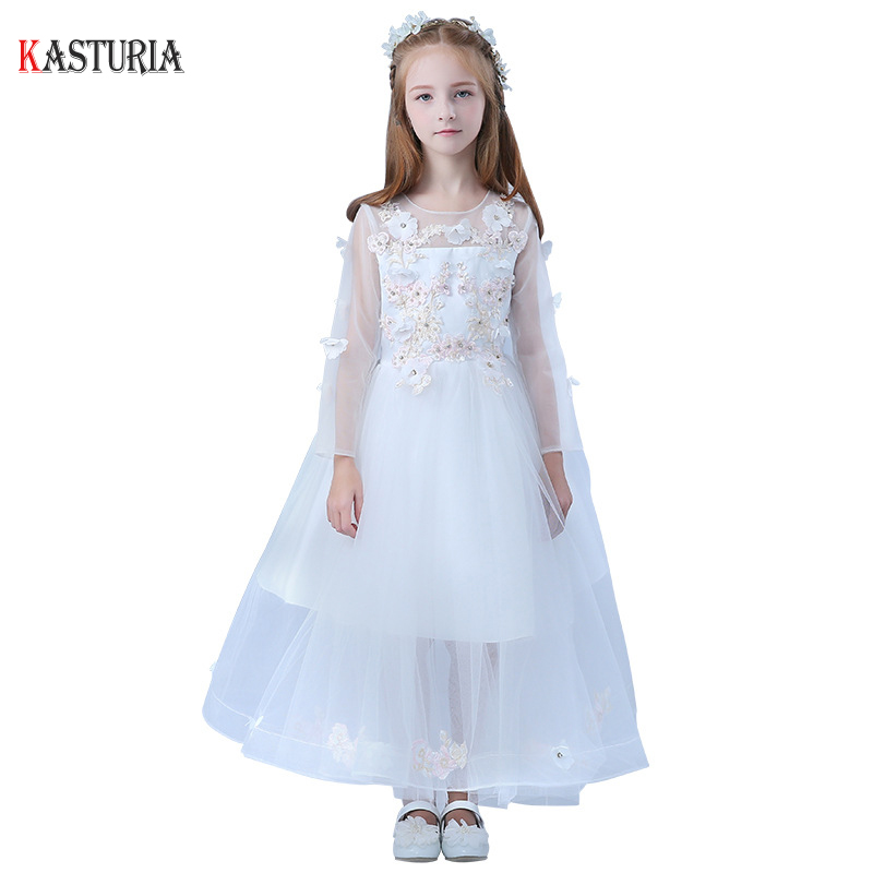 Fashion kids summer dresses for girls O-neck lace unicorn party princess dress Children uniform girl baby clothes child costume 2018 summer girls teens party dress petal sleeve o neck children kids dress for girl 12 years old lace net yarn princess dresses