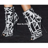 Newest Fashion Classic Bling Bling White Black Crystal Ankle Boots Sexy Peep Toe High Heel Boots For Women Summer 2019