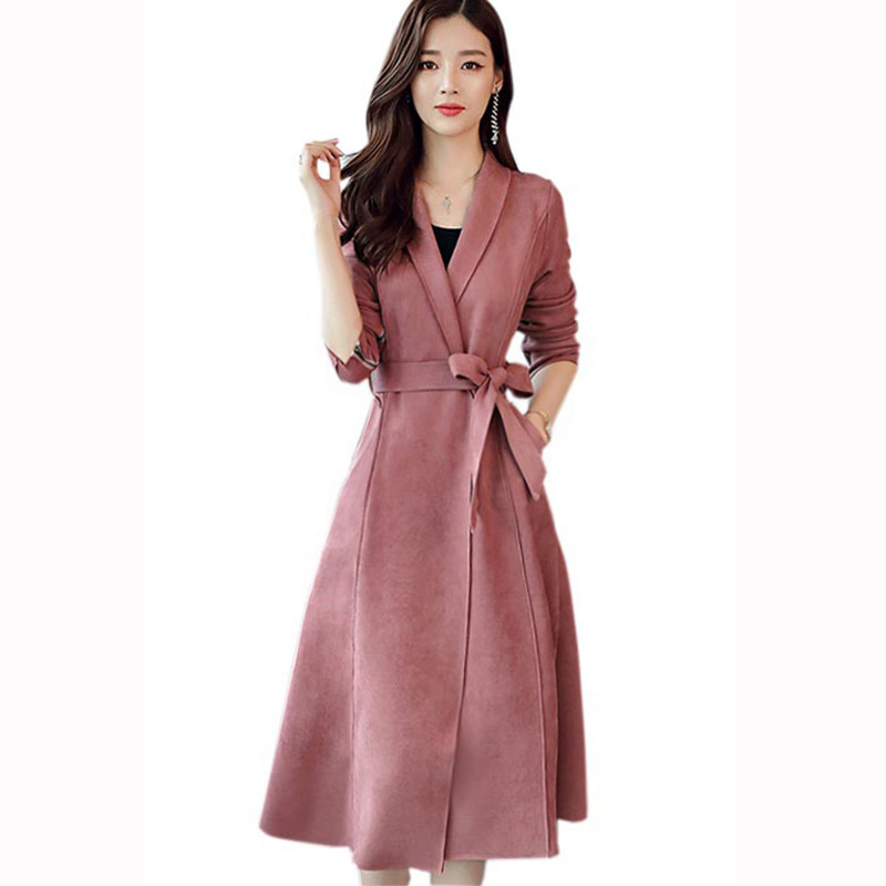 Elegant Long   Trench   Coat For Women New Suede   Trench   Coat Abrigos Mujer Windbreaker Lace Up Cardigan Women Coat Overcoat C4619