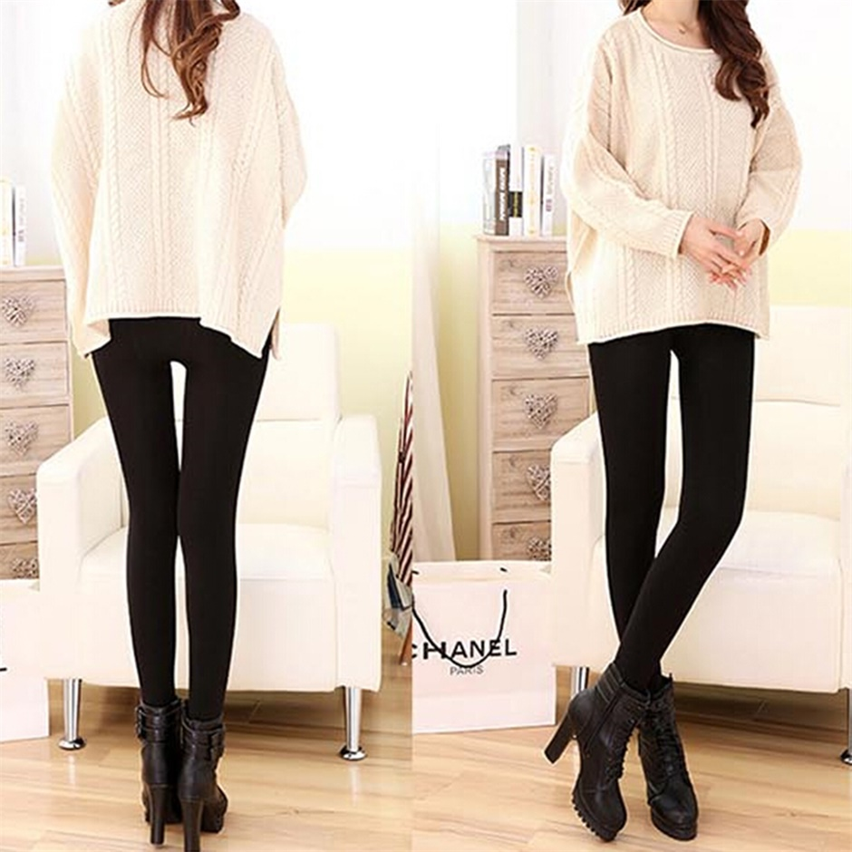 Women Warm Thick Fleece Fur Lined Thermal Leggings Solid Stretch Winter Pants Feel free and move at ease but warmer Hot Selling