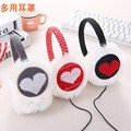 Plush headphones winter ear warmer earmuffs music fashion love Heart earmuffs Imitation of rabbit hair wholesale