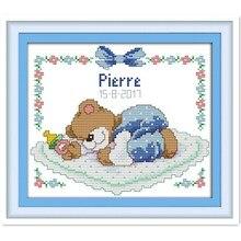 Sleeping Baby Bear DMC Counted Cross -Stitching DIY Needlewook for Home Decoration Knitting Needles Diamond Painting Kit Diy
