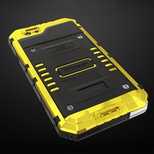 10 Pcs Yellow Protective Case Aluminum Hard Cover Full Protected Waterproof Scrape Resistance Shockproof For iPhone 6/6S Plus