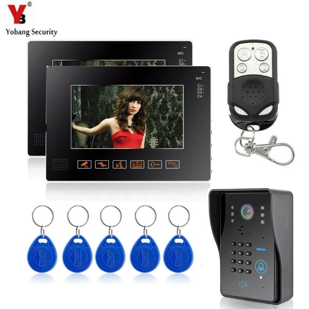 YobangSecurity 9 Video Door Phone Doorbell Intercom System With RFID Keyfobs KeyPad Night Vision Rainproof 1 Camera 2 Monitor пена монтажная mastertex all season 750 pro всесезонная