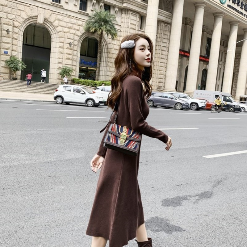 Bord clair Bouleversé Tricoté Couture Vent Nouveau 2018 Jupe Port Beige Robe Automne Rendent Big La Graisse Yards Sœur Micro hiver Mm zSxR5Tw