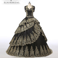 Vintage Black And Gold Ball Gown Prom Dresses 2018 Robe De Bal Embroidery Formal Evening Dress