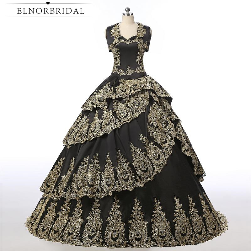 Vintage Dressing Gown: Vintage Black And Gold Ball Gown Prom Dresses 2019 Robe De