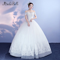 Modabelle Simple Tulle Beaded Wedding Dresses For Beach Real Pictures 2018 Off Shoulder Wedding Ball Gowns
