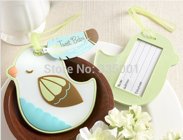 wedding favor party gift and giveaways for guest -- Tweet Baby Baby Bird Luggage Tag baby and bridal shower 40pcs/lot
