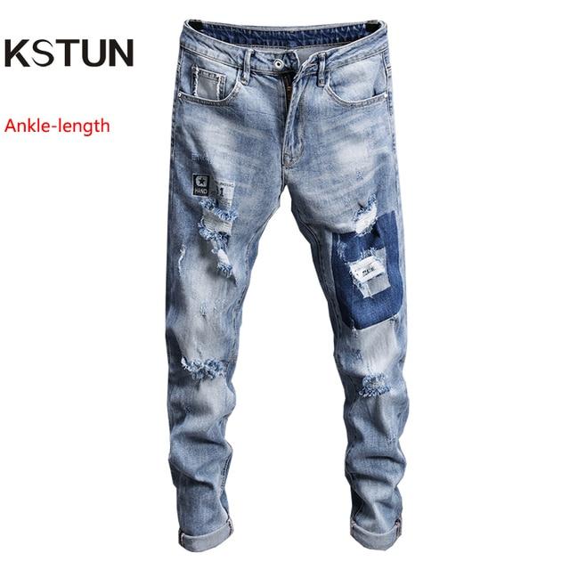 b48be03ce9e076 KSTUN Brand 2018 Jeans Men Summer Thin 100% Cotton Printed Ripped Jeans Male  Broken Holes Hip Hop Biker Torn Beggar Capri Pants
