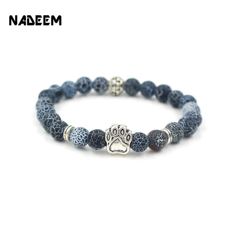 Womens Bracelet Natural Stone Mala Bead Yoga Bracelet Pitbull Dog Hand Paw 8mm Elastic Rope Bead Bracelet Fashion Men Women Jewelry