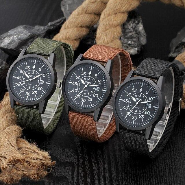 95f9b0c059ee Barato al por mayor relojes hombre moda ejército militar nylon Correa fecha  reloj de cuarzo hombres