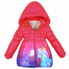 CNJiaYun Winter Girls Jacket Cinderella Winter Thick Warm Hooded Children Outerwear Girls Coat Cotton Long Style Kids Clothing