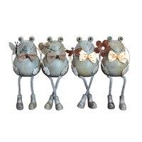 Frog Miniatures Home Accessories Wooden Dolls 4 Pieces/set Miniature Office Desk Decoration Cartoon Figurines ElimElim