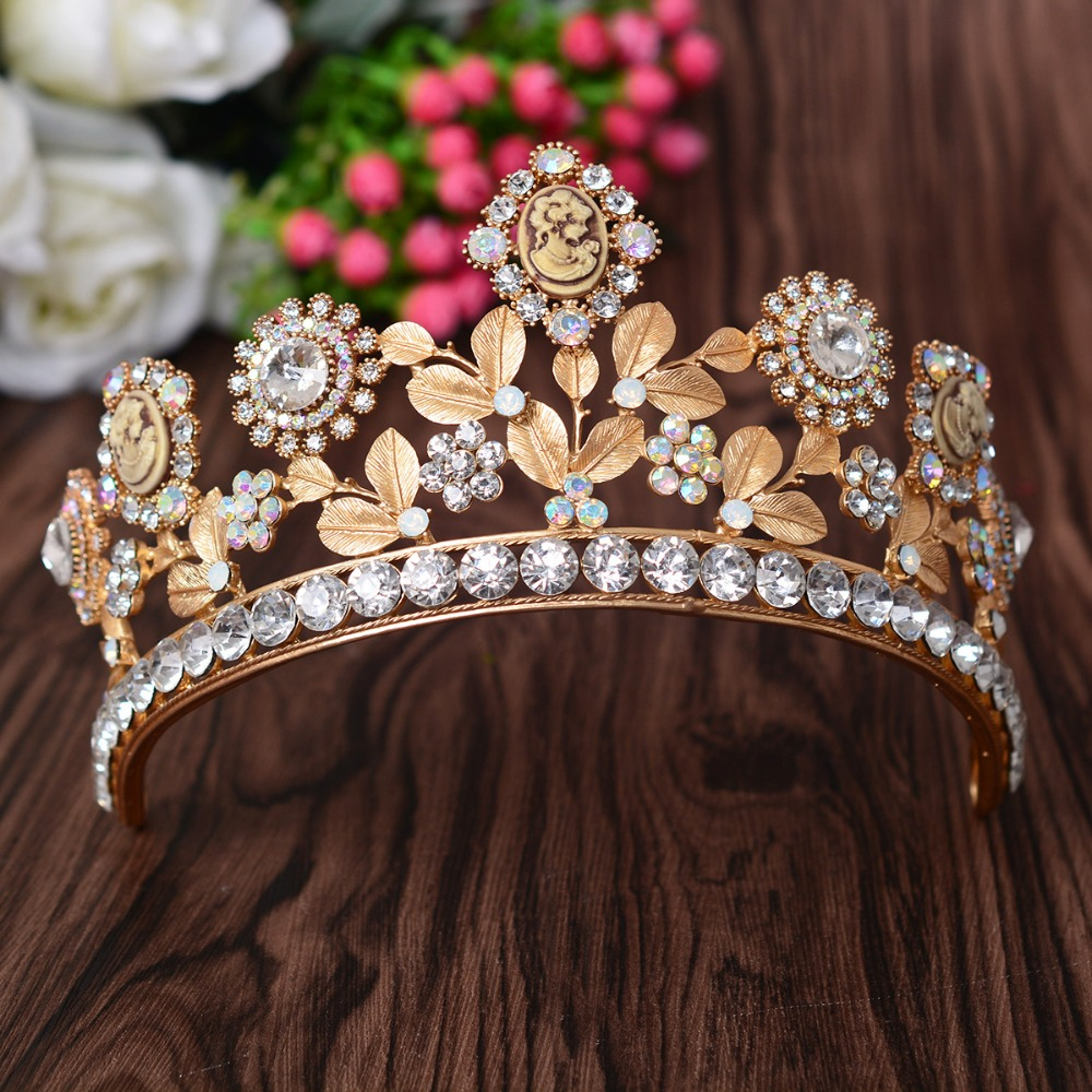 High quality baroque style crowns Gold leaf shape women hair tiaras bridal wedding party show headbands hair jewelry