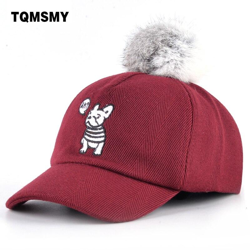 Tqmsmy Cute Dog Baseball Caps Boy Sun Hat Children Snapback Cap Kids Casual Bone Cotton Real Rabbit Fur Ball Hats For Boys Gorro Easy To Use