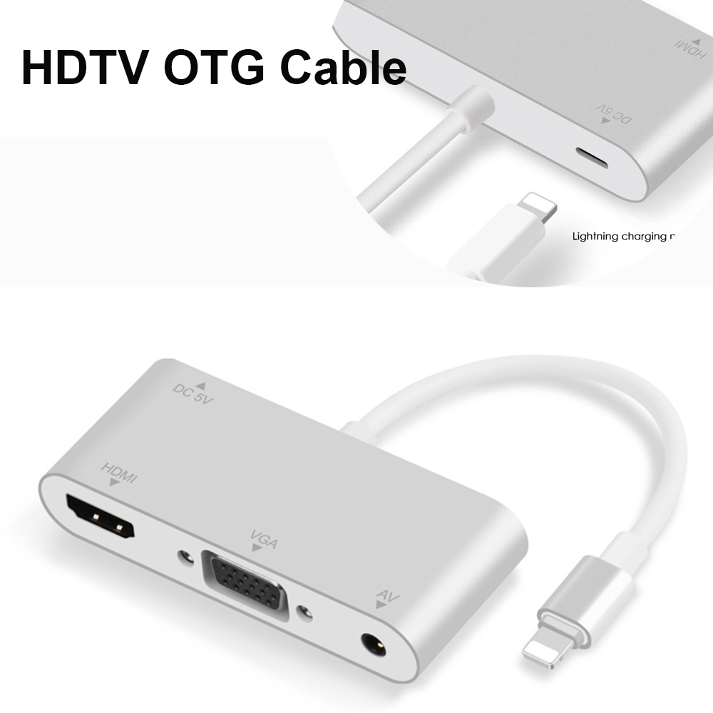 4K HD Lightning to HDMI VGA AV Audio Video Adapter Cable For iPhone XR 8 6s iPad