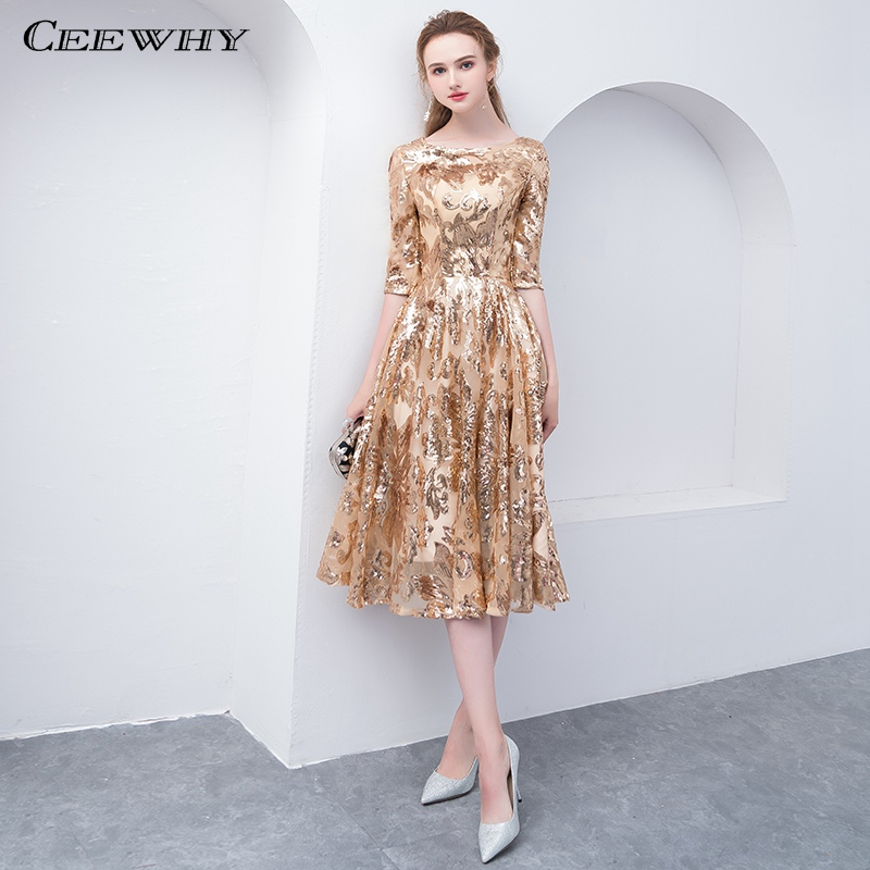 Ceewhy O Neck Half Sleeve Formal Dress Gold Evening Dress Sequin