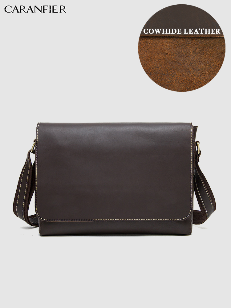 CARANFIER Mens Briefcase Vintage Genuine Cowhide Leather Quality Shoulder Crossbody Bags Business Leisure Portable Messenger Bag