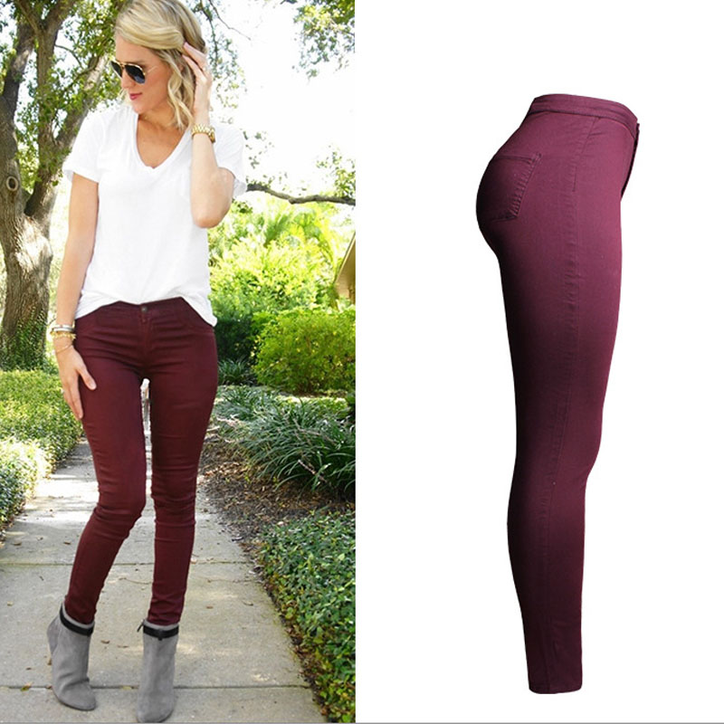Popular Wine Colored Jeans-Buy Cheap Wine Colored Jeans lots from