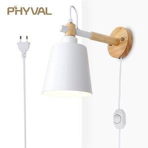 Image 1 - Lâmpada de parede de madeira nordic linha luz cabo com botão interruptor dimmer lâmpadas parede para o quarto sala jantar incandescente luzes parede