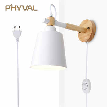 Wood Wall Lamp Nordic Wall Light Line Cable with Knob Switch Dimmer Wall Lamps for Bedroom Dining Room Incandescent Wall Lights - DISCOUNT ITEM  40% OFF All Category