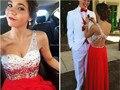 Abendkleider 2017 vestidos sexy baile sin respaldo vestidos formales sheer rebordear rhinestone vestido largo de gasa red one hombro vestido de noche