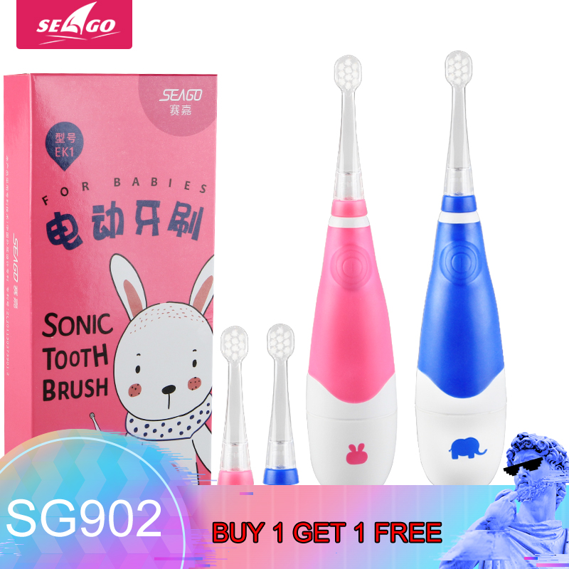 Electric Toothbrush Kids Battery Powered with Smart Timer Toddler Toothbrush Sonic Built in Colorful LED Light BUY 1 GET 1 FREE image